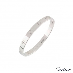 Cartier White Gold Plain Love Bracelet Size 16 B6035416